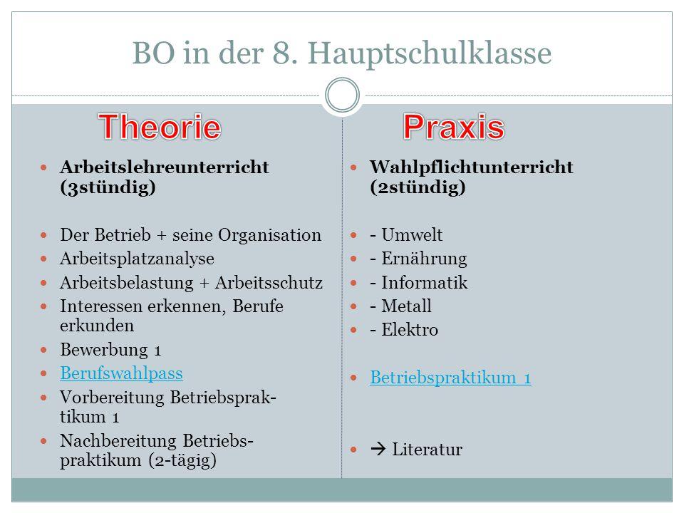 """BO in den - -Klassen Im Fächerverbund """"Wirtschaft-Arbeit- Gesundheit bzw."""
