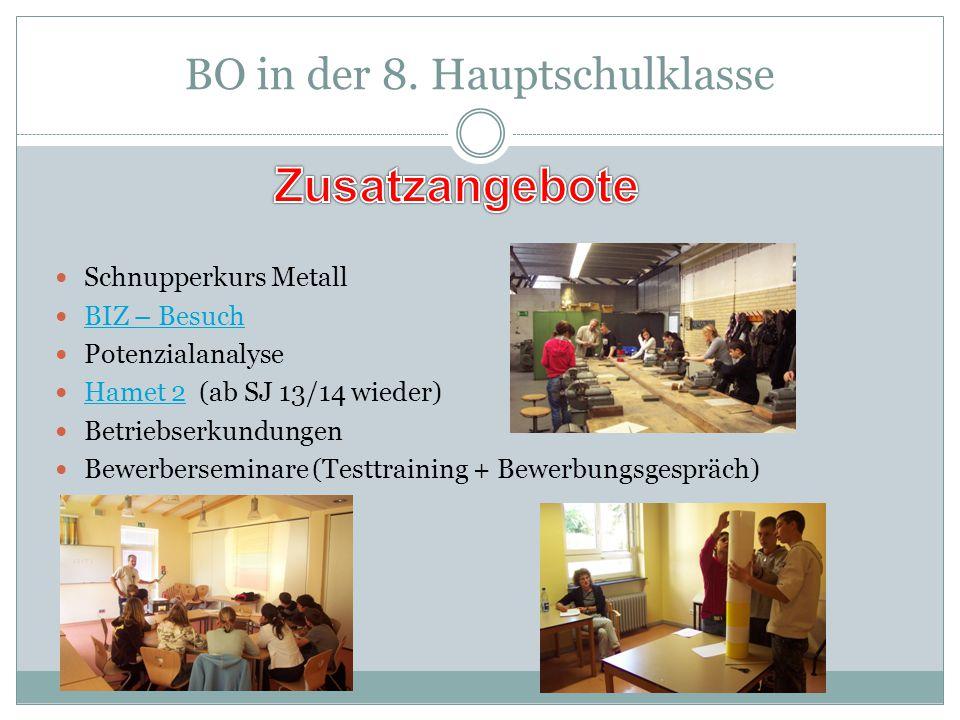 BO in der 8. Hauptschulklasse Schnupperkurs Metall BIZ – Besuch Potenzialanalyse Hamet 2 (ab SJ 13/14 wieder) Hamet 2 Betriebserkundungen Bewerbersemi