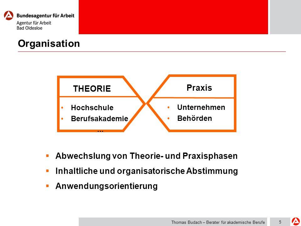 5 Organisation THEORIE Praxis Hochschule Berufsakademie... Unternehmen Behörden  Abwechslung von Theorie- und Praxisphasen  Inhaltliche und organisa