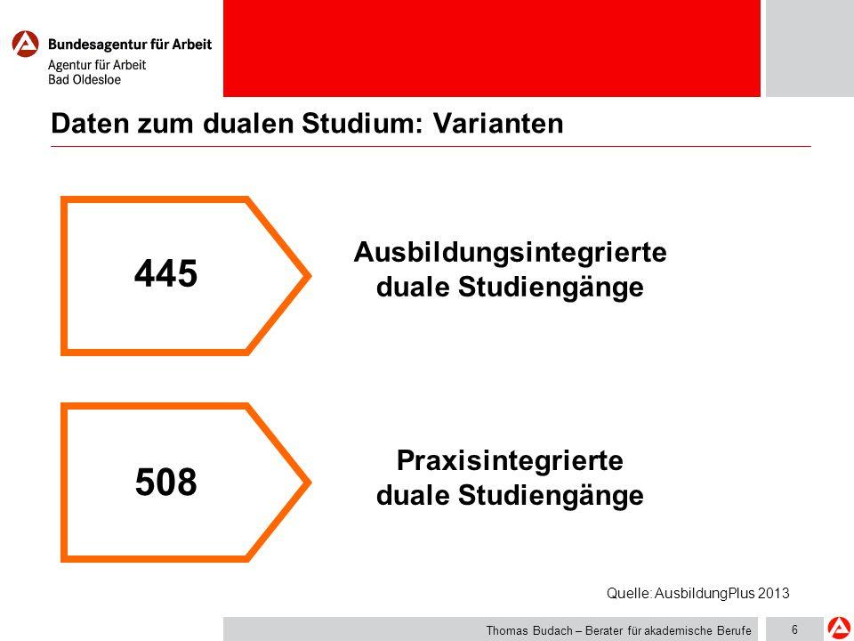 7 Daten zum dualen Studium: Angebot Thomas Budach – Berater für akademische Berufe Ca.