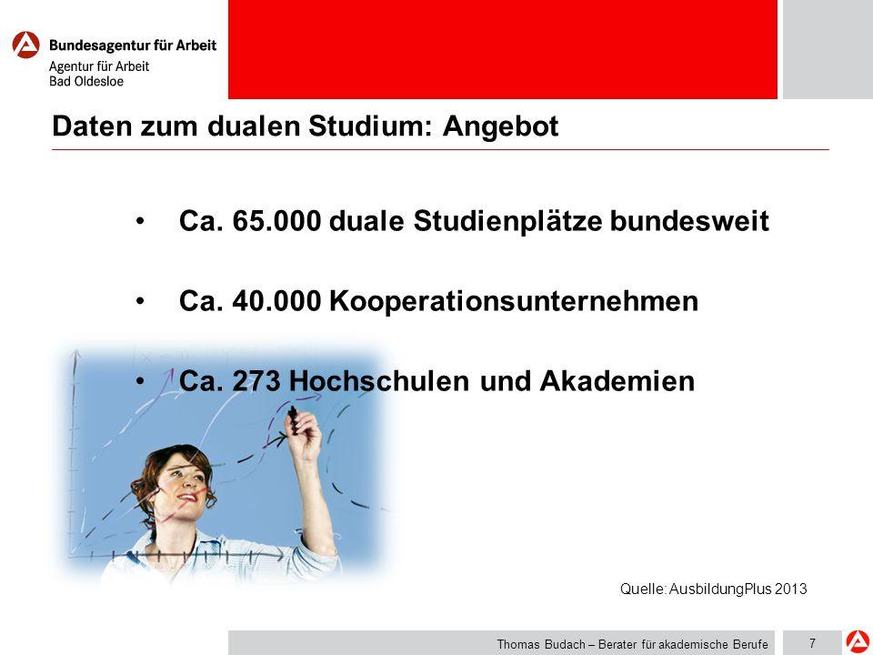 7 Daten zum dualen Studium: Angebot Thomas Budach – Berater für akademische Berufe Ca. 65.000 duale Studienplätze bundesweit Ca. 40.000 Kooperationsun