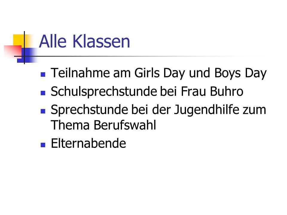 Alle Klassen Teilnahme am Girls Day und Boys Day Schulsprechstunde bei Frau Buhro Sprechstunde bei der Jugendhilfe zum Thema Berufswahl Elternabende