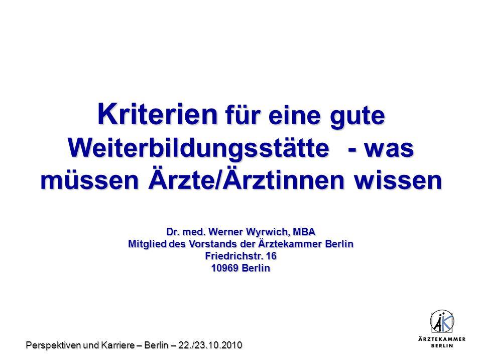 Perspektiven und Karriere – Berlin – 22./23.10.2010 Kriterien für eine gute Weiterbildungsstätte - was müssen Ärzte/Ärztinnen wissen Dr. med. Werner W