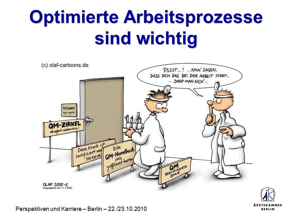 Perspektiven und Karriere – Berlin – 22./23.10.2010 Optimierte Arbeitsprozesse sind wichtig