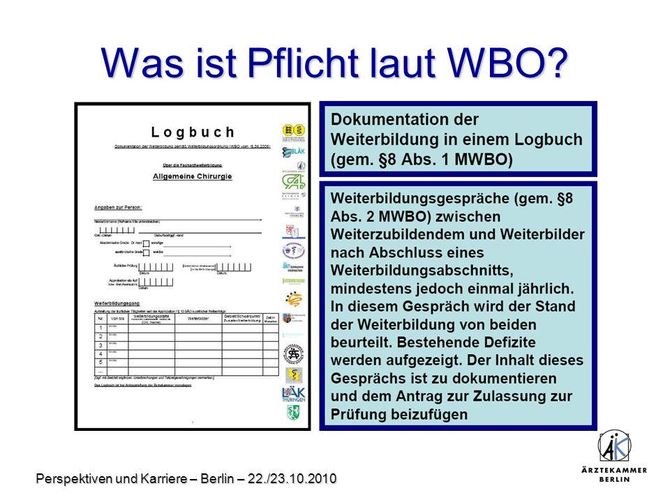 Perspektiven und Karriere – Berlin – 22./23.10.2010 Was ist Pflicht laut WBO?