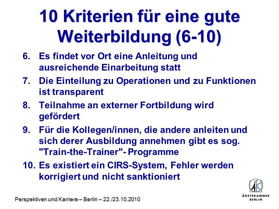 Perspektiven und Karriere – Berlin – 22./23.10.2010 10 Kriterien für eine gute Weiterbildung (6-10) 6.Es findet vor Ort eine Anleitung und ausreichend
