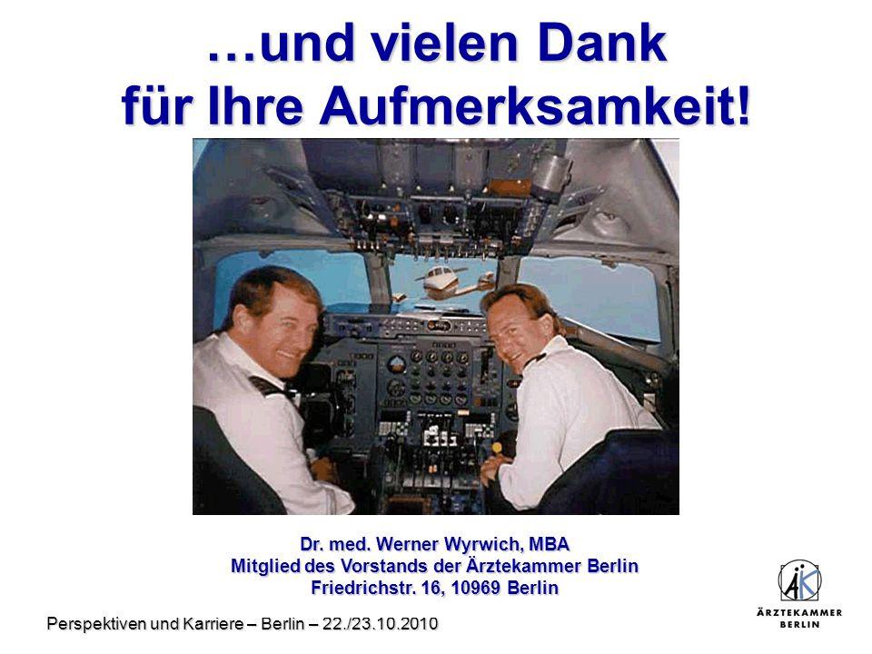Perspektiven und Karriere – Berlin – 22./23.10.2010 …und vielen Dank für Ihre Aufmerksamkeit! Dr. med. Werner Wyrwich, MBA Mitglied des Vorstands der