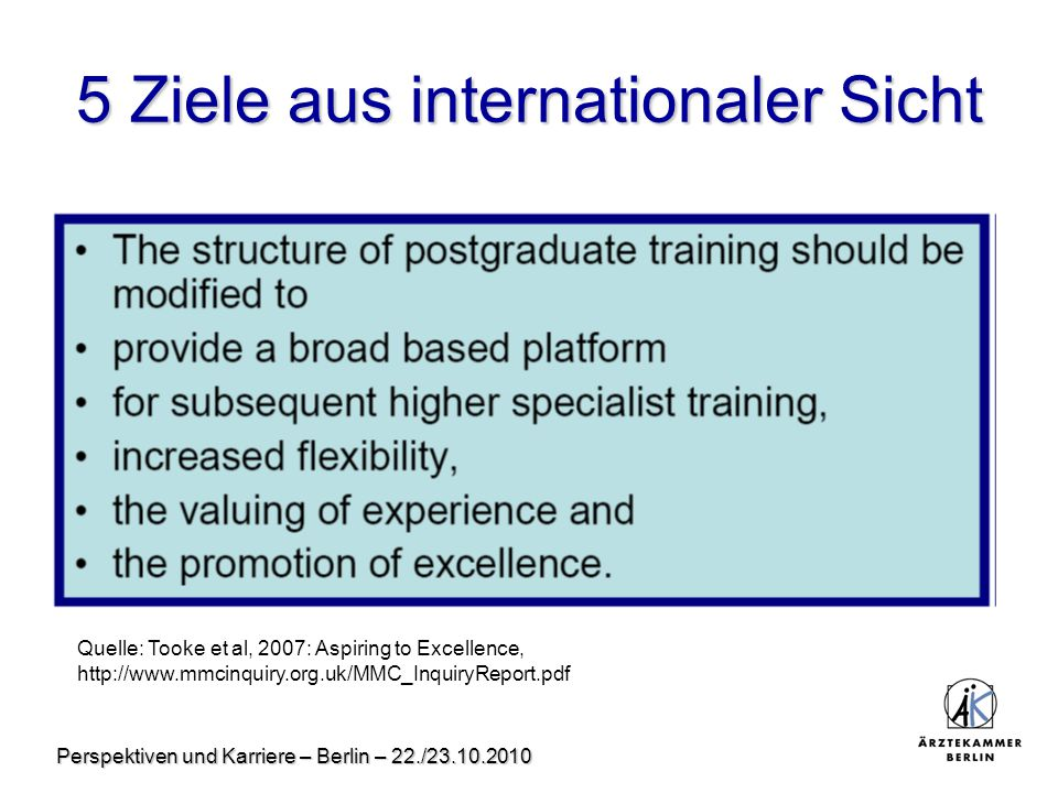 Perspektiven und Karriere – Berlin – 22./23.10.2010 5 Ziele aus internationaler Sicht Quelle: Tooke et al, 2007: Aspiring to Excellence, http://www.mmcinquiry.org.uk/MMC_InquiryReport.pdf