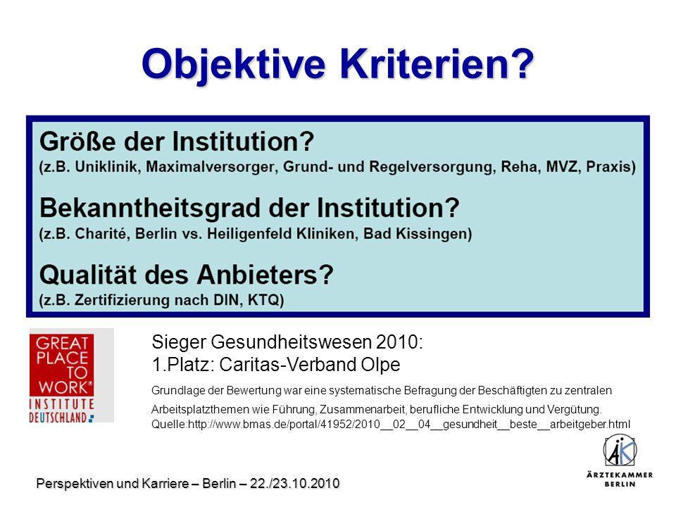 Perspektiven und Karriere – Berlin – 22./23.10.2010 Objektive Kriterien? Sieger Gesundheitswesen 2010: 1.Platz: Caritas-Verband Olpe Grundlage der Bew