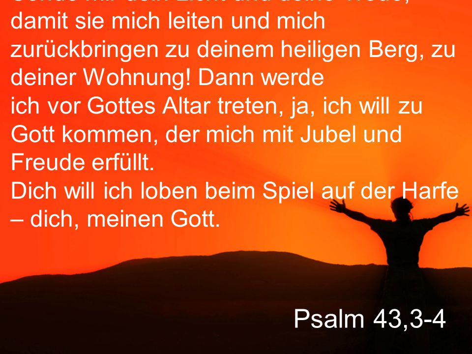 Psalm 43,3-4 Sende mir dein Licht und deine Treue, damit sie mich leiten und mich zurückbringen zu deinem heiligen Berg, zu deiner Wohnung.