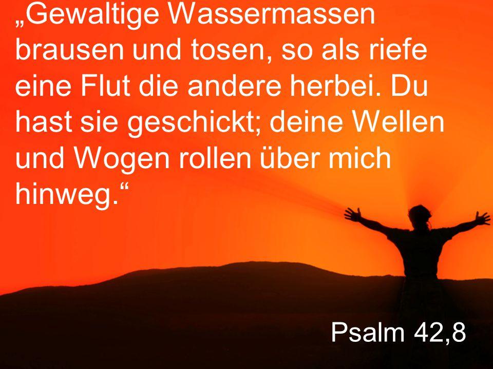 """Psalm 42,8 """"Gewaltige Wassermassen brausen und tosen, so als riefe eine Flut die andere herbei."""