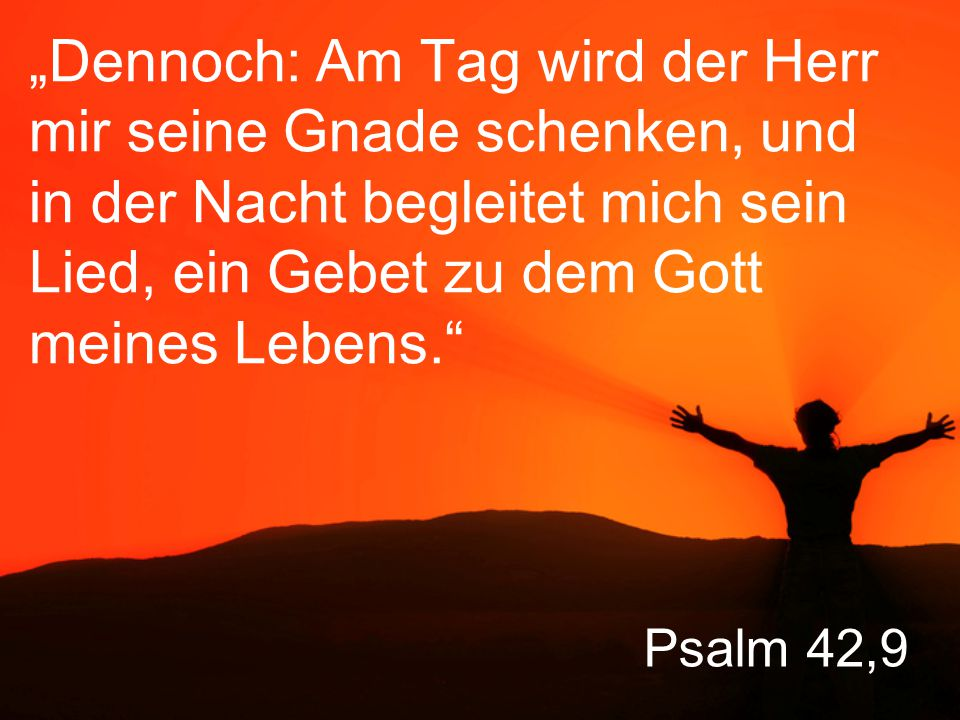 """Psalm 42,9 """"Dennoch: Am Tag wird der Herr mir seine Gnade schenken, und in der Nacht begleitet mich sein Lied, ein Gebet zu dem Gott meines Lebens."""