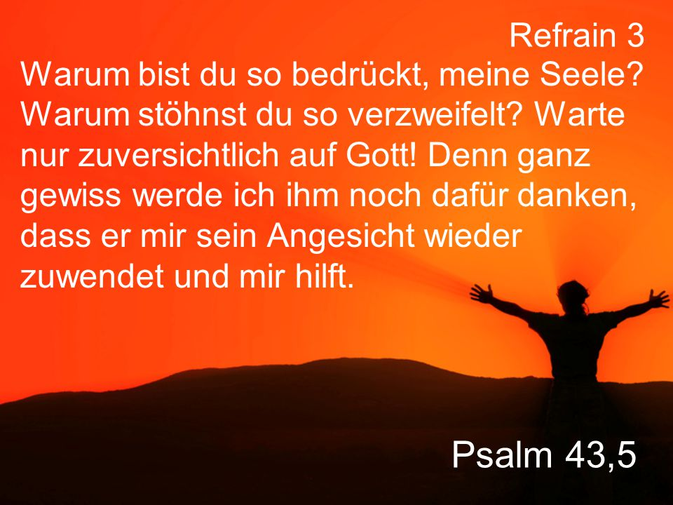Psalm 43,5 Warum bist du so bedrückt, meine Seele.