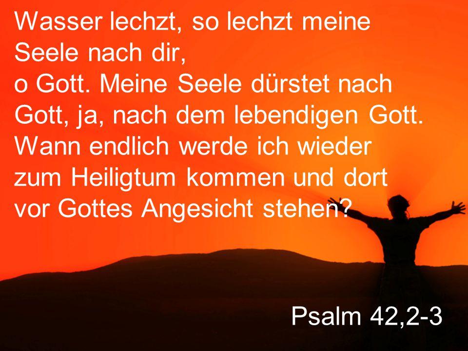 Psalm 42,2-3 Wie der Hirsch nach frischem Wasser lechzt, so lechzt meine Seele nach dir, o Gott.
