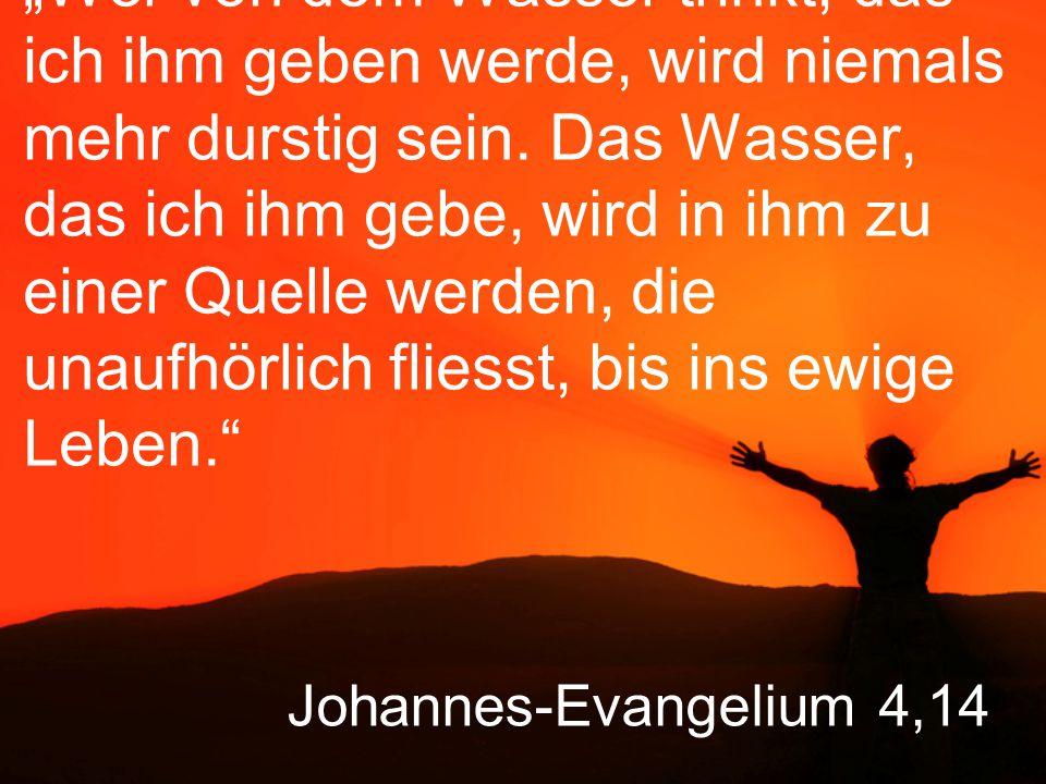 """Johannes-Evangelium 4,14 """"Wer von dem Wasser trinkt, das ich ihm geben werde, wird niemals mehr durstig sein."""