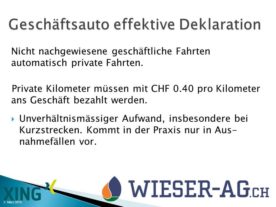 2. März 2015 Nicht nachgewiesene geschäftliche Fahrten automatisch private Fahrten. Private Kilometer müssen mit CHF 0.40 pro Kilometer ans Geschäft b