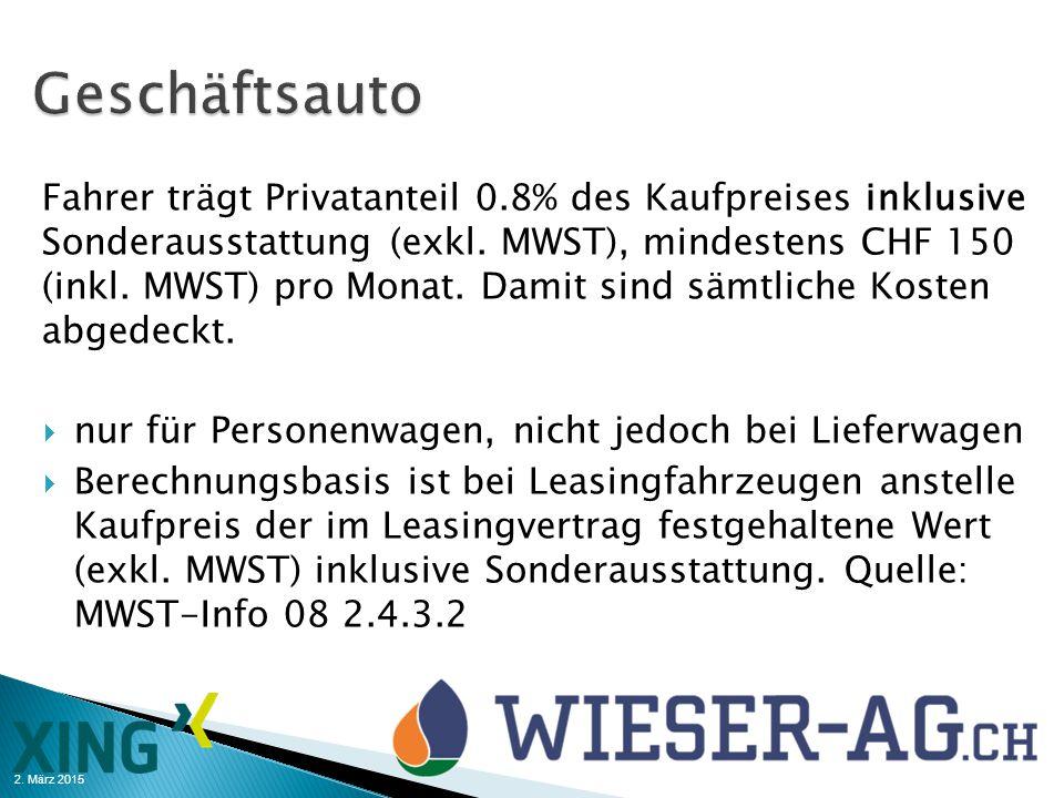 2. März 2015 Fahrer trägt Privatanteil 0.8% des Kaufpreises inklusive Sonderausstattung (exkl. MWST), mindestens CHF 150 (inkl. MWST) pro Monat. Damit