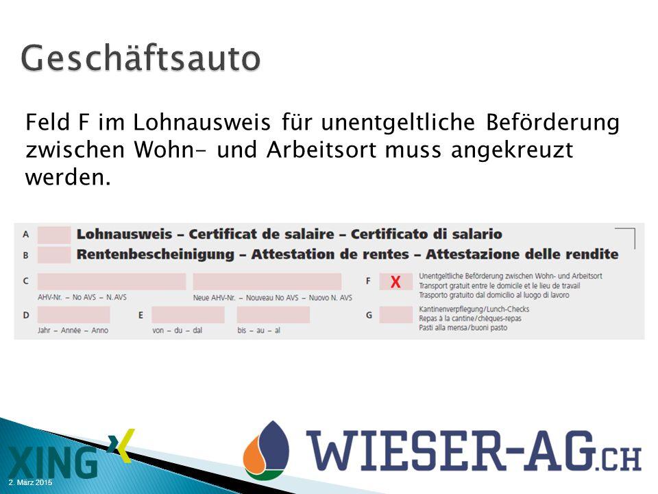 2. März 2015 Feld F im Lohnausweis für unentgeltliche Beförderung zwischen Wohn- und Arbeitsort muss angekreuzt werden.