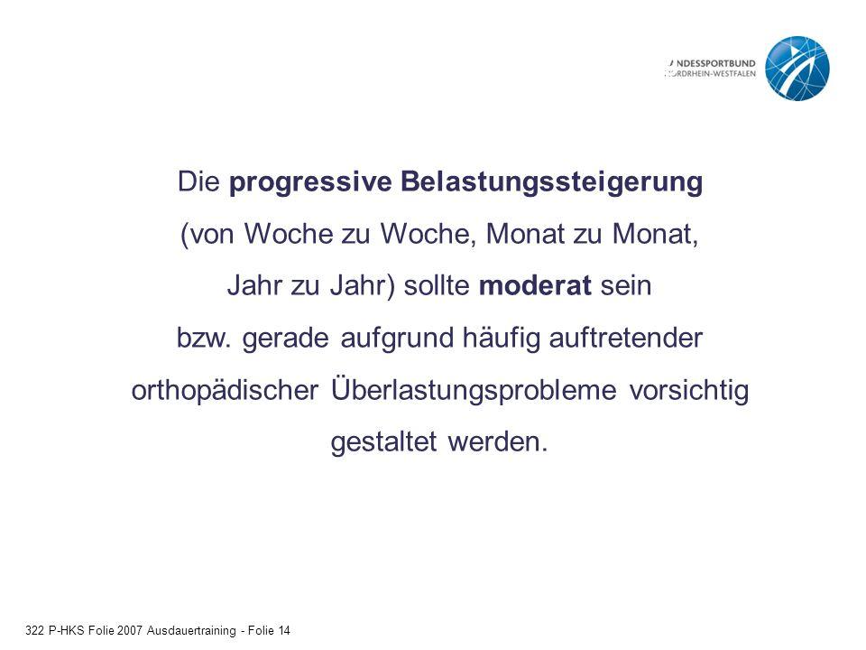 Das Prinzip der progressiven Belastungssteigerung 322 P-HKS Folie 2007 Ausdauertraining - Folie 14 Die progressive Belastungssteigerung (von Woche zu