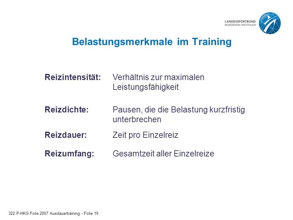 Belastungsmerkmale im Training 322 P-HKS Folie 2007 Ausdauertraining - Folie 19 Reizintensität:Verhältnis zur maximalen Leistungsfähigkeit Reizdichte:
