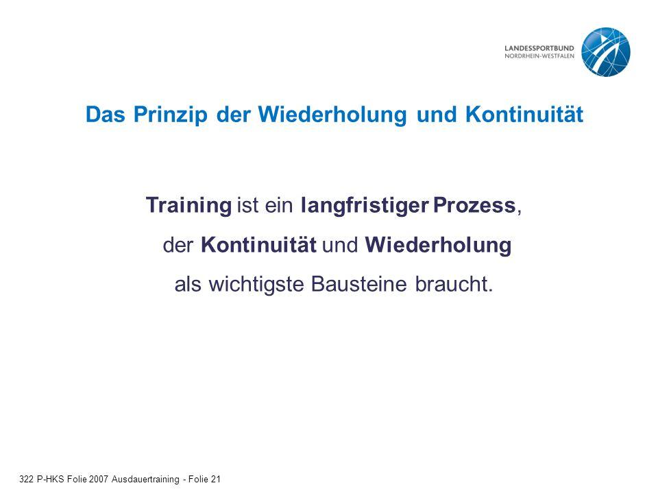 Das Prinzip der Wiederholung und Kontinuität 322 P-HKS Folie 2007 Ausdauertraining - Folie 21 Training ist ein langfristiger Prozess, der Kontinuität