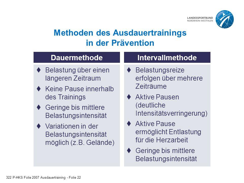 Methoden des Ausdauertrainings in der Prävention 322 P-HKS Folie 2007 Ausdauertraining - Folie 22 DauermethodeIntervallmethode  Belastung über einen