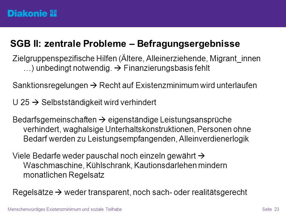 SGB II: zentrale Probleme – Befragungsergebnisse Menschenwürdiges Existenzminimum und soziale TeilhabeSeite 23 Zielgruppenspezifische Hilfen (Ältere, Alleinerziehende, Migrant_innen …) unbedingt notwendig.
