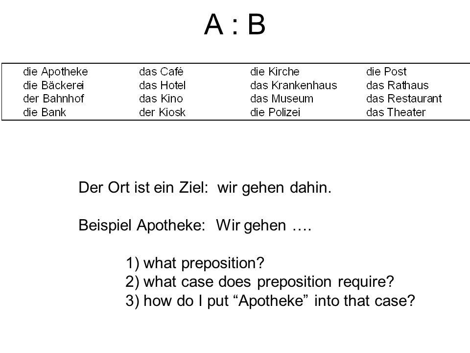 A : B Der Ort ist ein Ziel: wir gehen dahin. Beispiel Apotheke: Wir gehen …. 1) what preposition? 2) what case does preposition require? 3) how do I p
