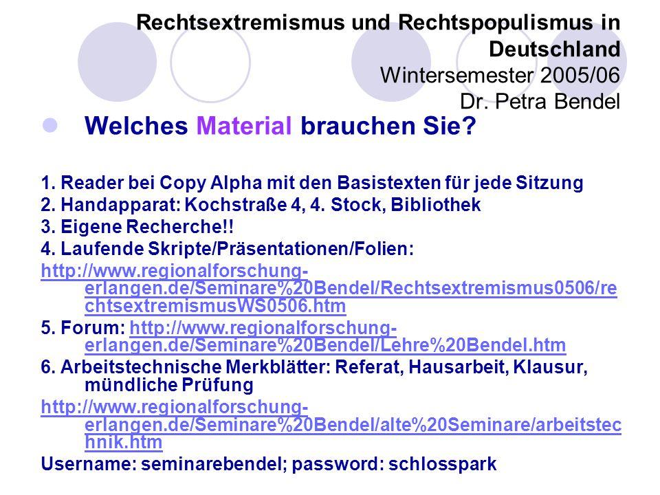 Rechtsextremismus und Rechtspopulismus in Deutschland Wintersemester 2005/06 Dr.