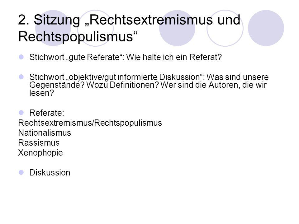 """2. Sitzung """"Rechtsextremismus und Rechtspopulismus"""" Stichwort """"gute Referate"""": Wie halte ich ein Referat? Stichwort """"objektive/gut informierte Diskuss"""