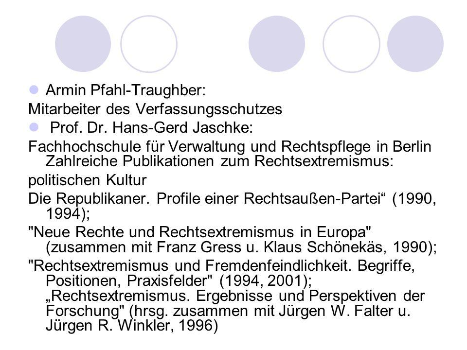 Armin Pfahl-Traughber: Mitarbeiter des Verfassungsschutzes Prof.