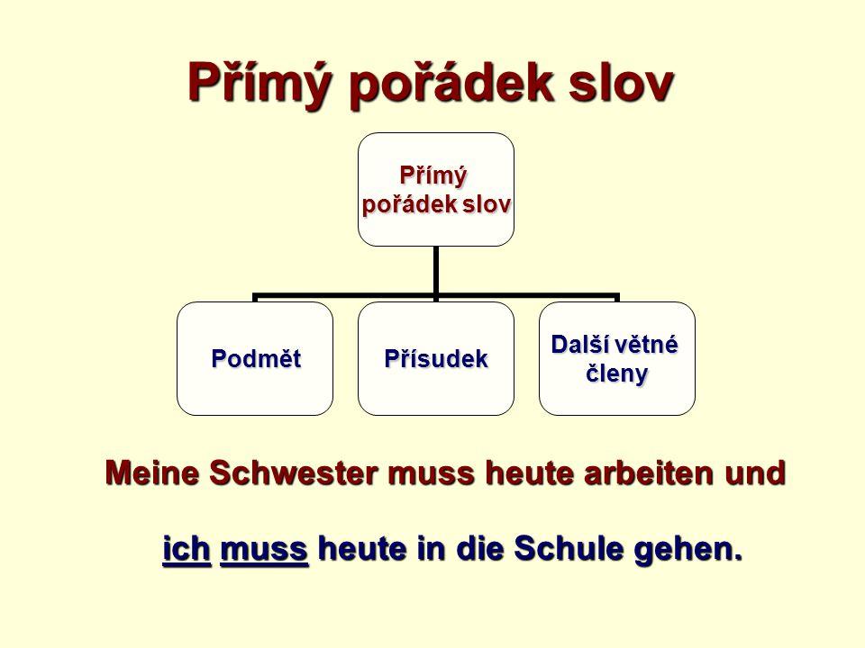 Přímý pořádek slov Meine Schwester muss heute arbeiten und ich muss heute in die Schule gehen.