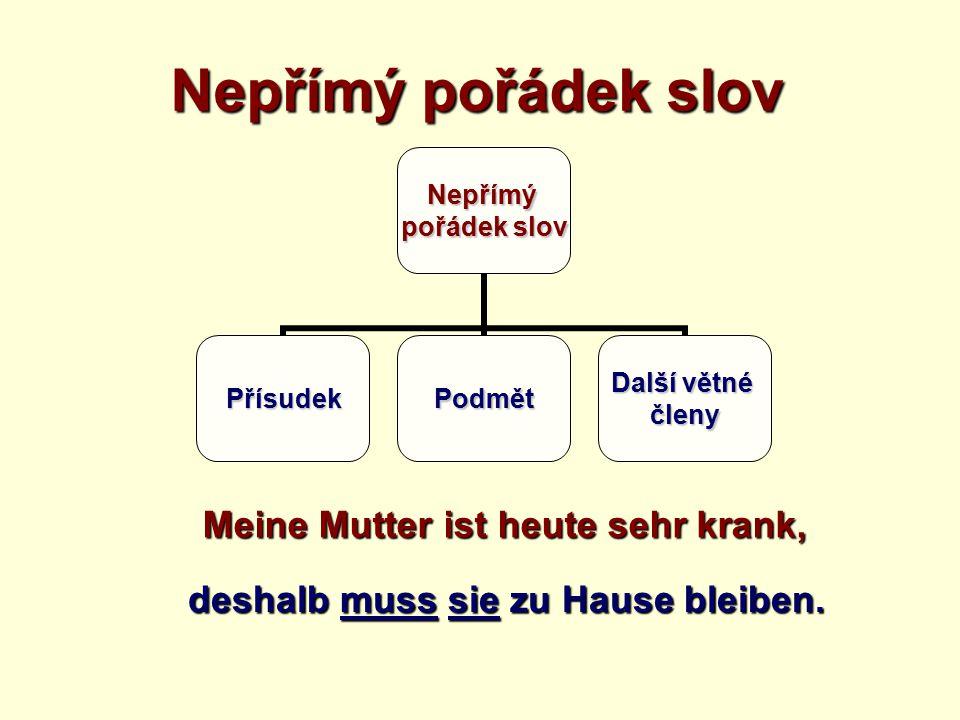 Nepřímý pořádek slov Meine Mutter ist heute sehr krank, deshalb muss sie zu Hause bleiben.