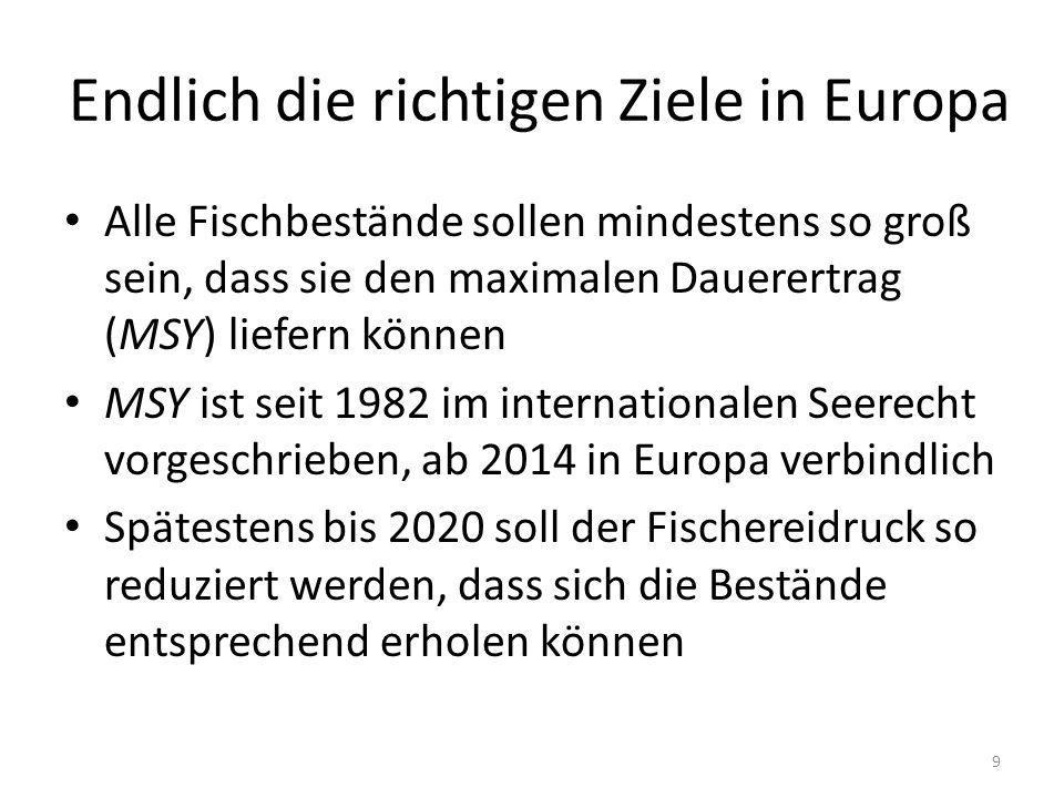Endlich die richtigen Ziele in Europa Alle Fischbestände sollen mindestens so groß sein, dass sie den maximalen Dauerertrag (MSY) liefern können MSY ist seit 1982 im internationalen Seerecht vorgeschrieben, ab 2014 in Europa verbindlich Spätestens bis 2020 soll der Fischereidruck so reduziert werden, dass sich die Bestände entsprechend erholen können 9