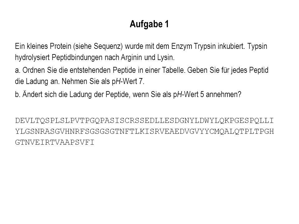 Aufgabe 1 Ein kleines Protein (siehe Sequenz) wurde mit dem Enzym Trypsin inkubiert. Typsin hydrolysiert Peptidbindungen nach Arginin und Lysin. a. Or