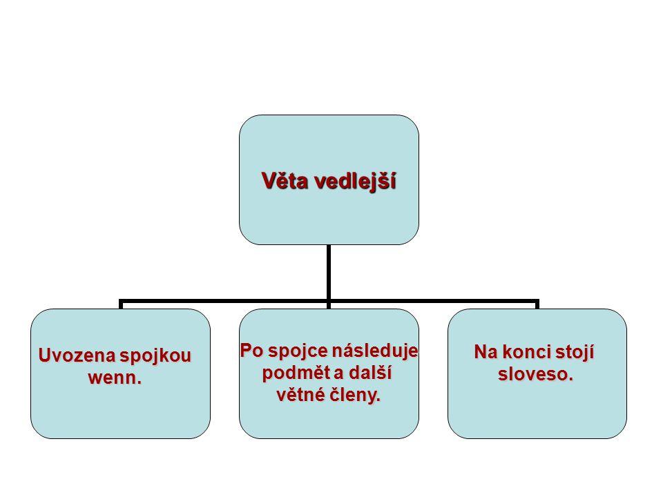 Věta vedlejší Uvozena spojkou wenn. Po spojce následuje podmět a další větné členy. Na konci stojí sloveso.
