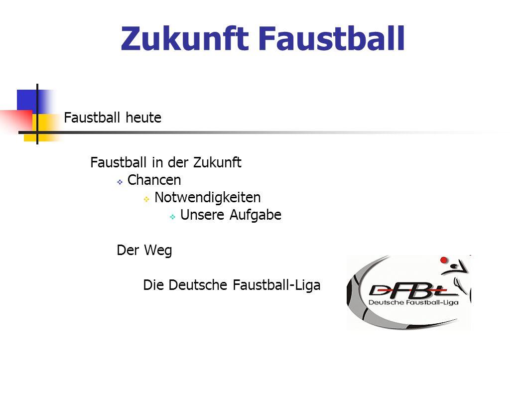 Faustball heute Faustball in der Zukunft  Chancen  Notwendigkeiten  Unsere Aufgabe Der Weg Die Deutsche Faustball-Liga Zukunft Faustball