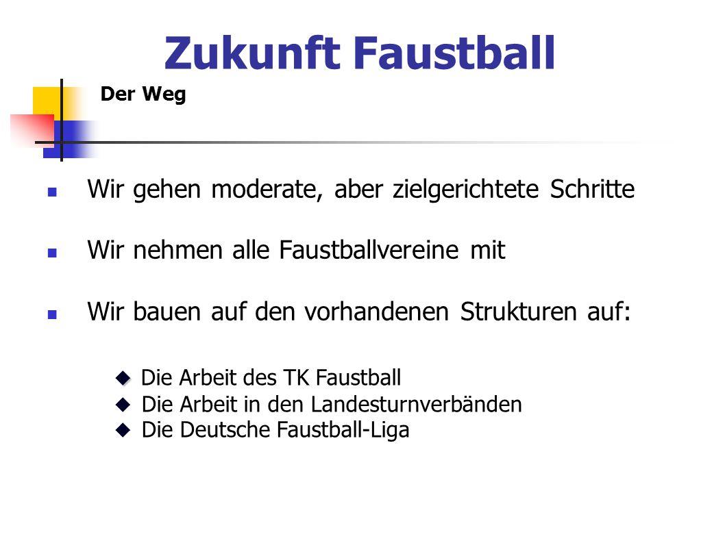 Der Weg Wir gehen moderate, aber zielgerichtete Schritte Wir nehmen alle Faustballvereine mit Wir bauen auf den vorhandenen Strukturen auf:   Die Arbeit des TK Faustball  Die Arbeit in den Landesturnverbänden  Die Deutsche Faustball-Liga Zukunft Faustball