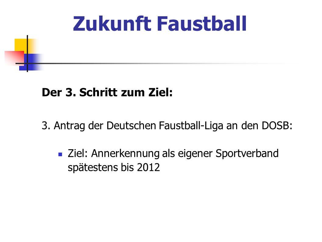 Der 3. Schritt zum Ziel: 3. Antrag der Deutschen Faustball-Liga an den DOSB: Ziel: Annerkennung als eigener Sportverband spätestens bis 2012 Zukunft F