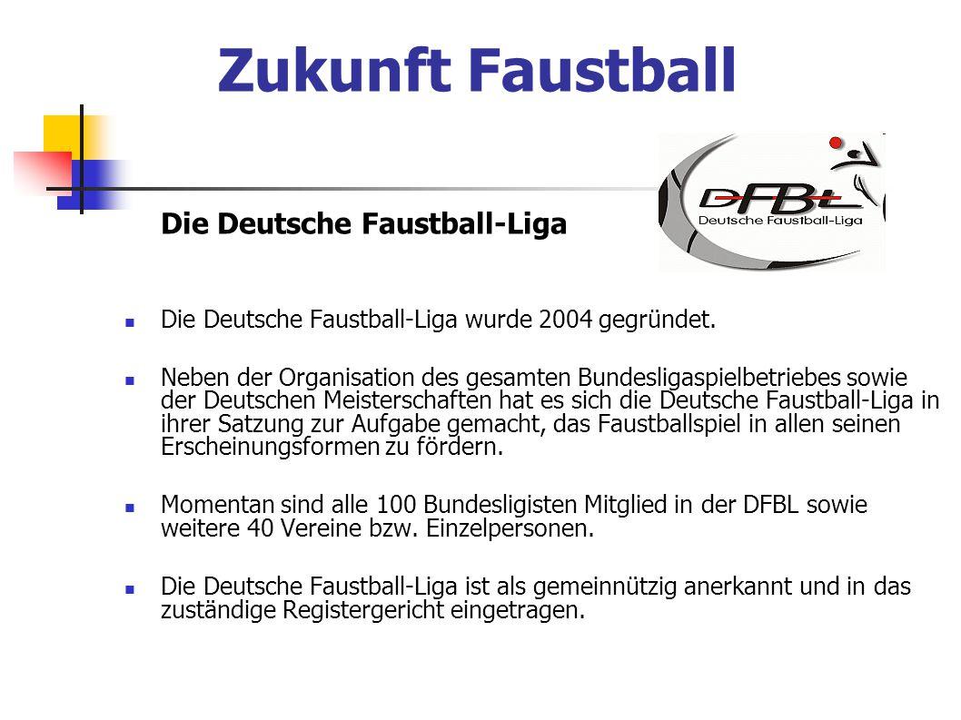 Die Deutsche Faustball-Liga Die Deutsche Faustball-Liga wurde 2004 gegründet. Neben der Organisation des gesamten Bundesligaspielbetriebes sowie der D