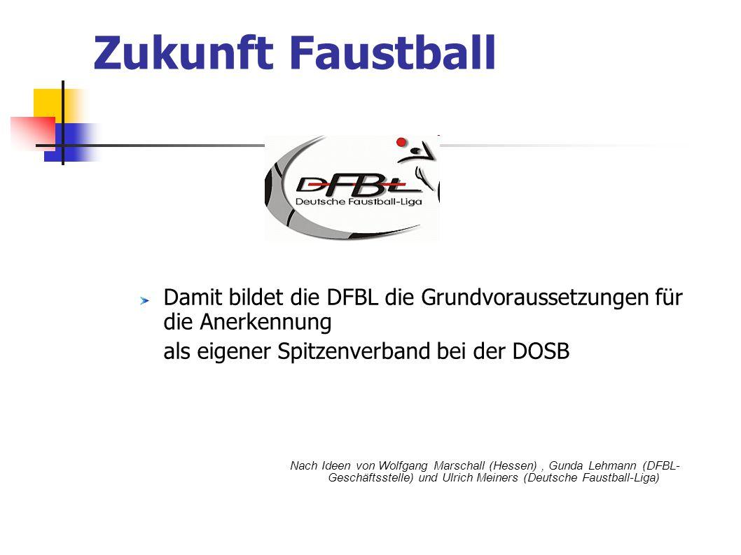 Damit bildet die DFBL die Grundvoraussetzungen für die Anerkennung als eigener Spitzenverband bei der DOSB Nach Ideen von Wolfgang Marschall (Hessen),