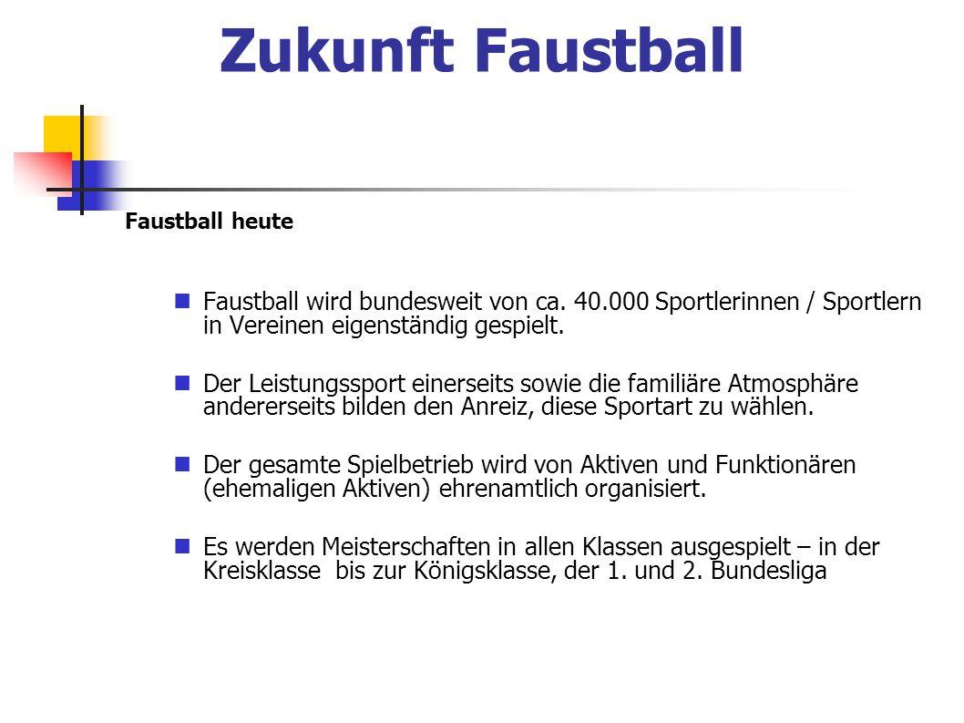 Faustball heute Faustball wird bundesweit von ca. 40.000 Sportlerinnen / Sportlern in Vereinen eigenständig gespielt. Der Leistungssport einerseits so