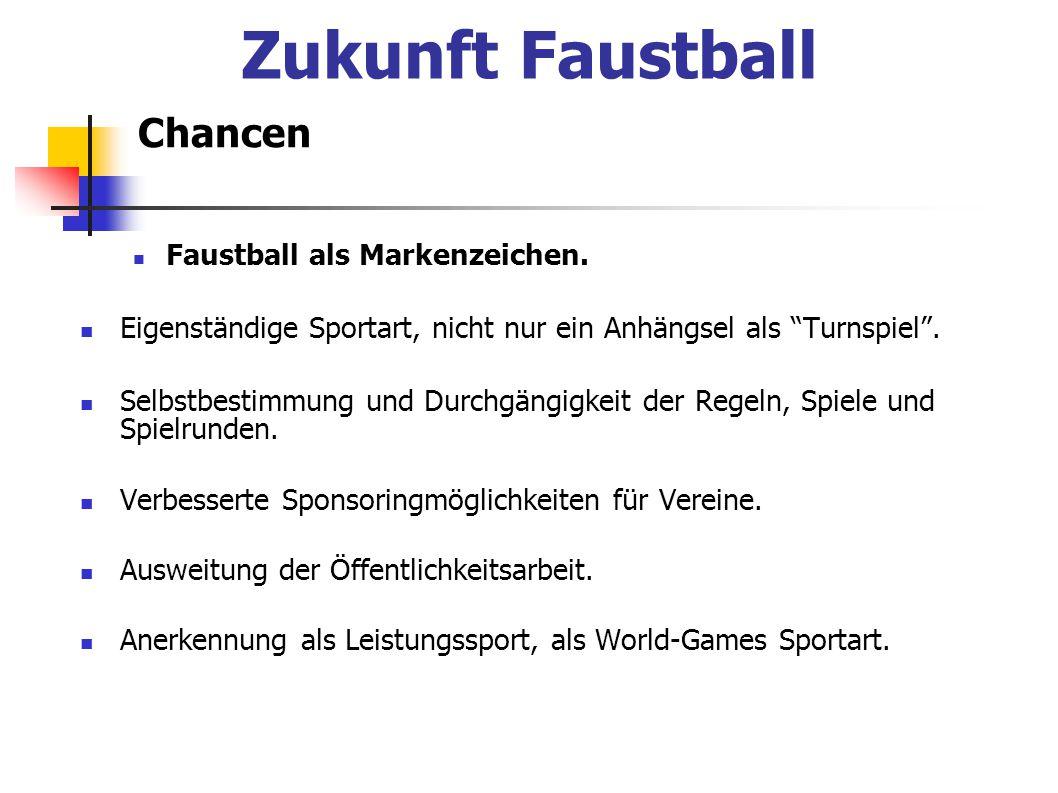 """Zukunft Faustball Chancen Faustball als Markenzeichen. Eigenständige Sportart, nicht nur ein Anhängsel als """"Turnspiel"""". Selbstbestimmung und Durchgäng"""