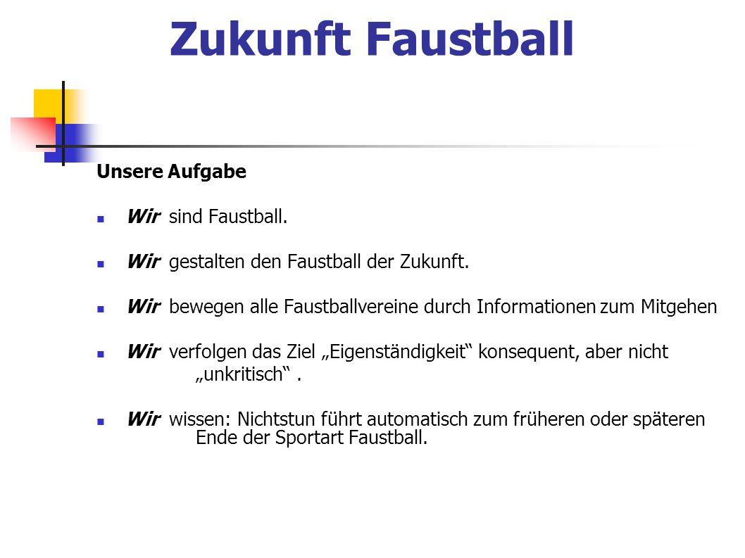 Zukunft Faustball Unsere Aufgabe Wir sind Faustball. Wir gestalten den Faustball der Zukunft. Wir bewegen alle Faustballvereine durch Informationen zu
