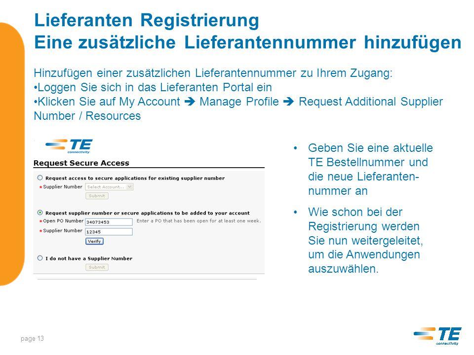 Lieferanten Registrierung Supplier Support Center page 14 Das Supplier Support Center hilft Ihnen während dem Anmeldungsprozess.