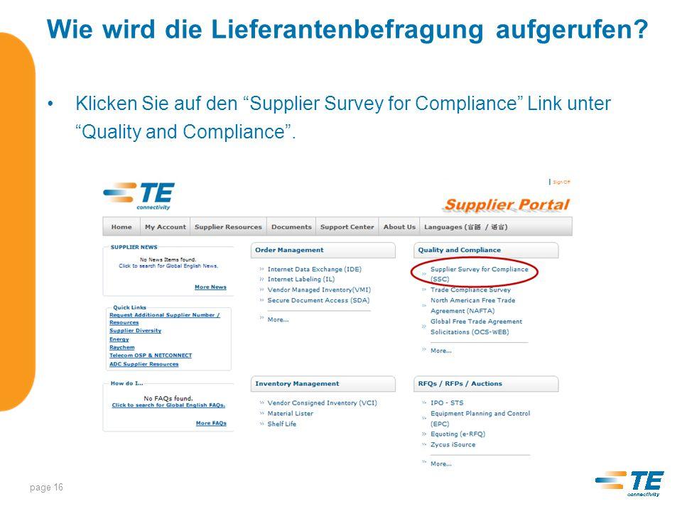 Supplier Survey for Compliance Lieferanten werden gebeten, das Dokument TEC-138-702 durchzulesen, Supplier Requirements for Product Environmental Compliance, und mit Agree oder Not Agree zu bestätigen.