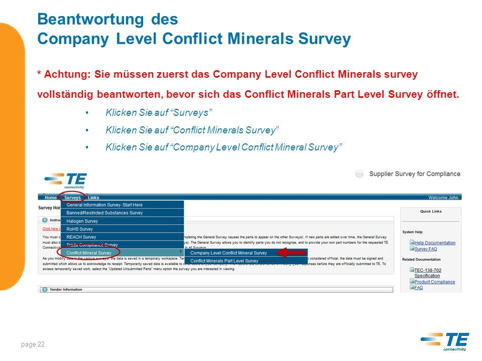 Beantwortung des Company Level Conflict Minerals Survey Schritt 1 – Gehen Sie zum Ende der Seite und markieren Sie die Lieferantennummer(n) für die Sie antworten möchten.