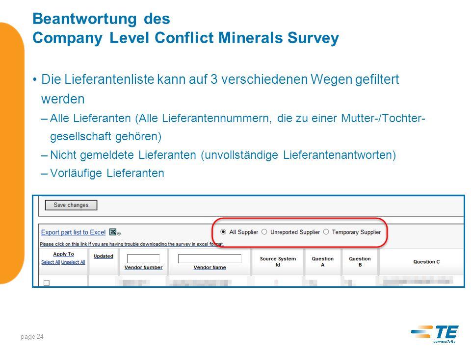 Beantwortung des Company Level Conflict Minerals Survey Teileliste in EXEL exportieren –Auf diesen Link klicken: –Wählen Sie die gewünschte Option.