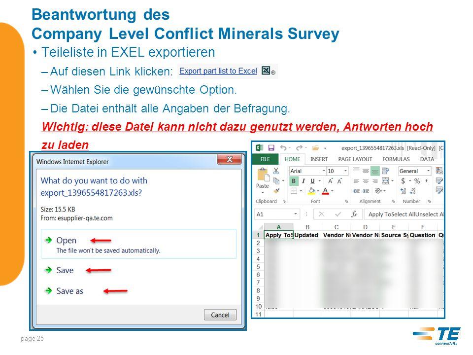 Beantwortung des Company Level Conflict Minerals Survey Sollte nur ein Lieferant ausgewählt sein, erscheint dessen Nummer und der Name am Kopf der Seite page 26