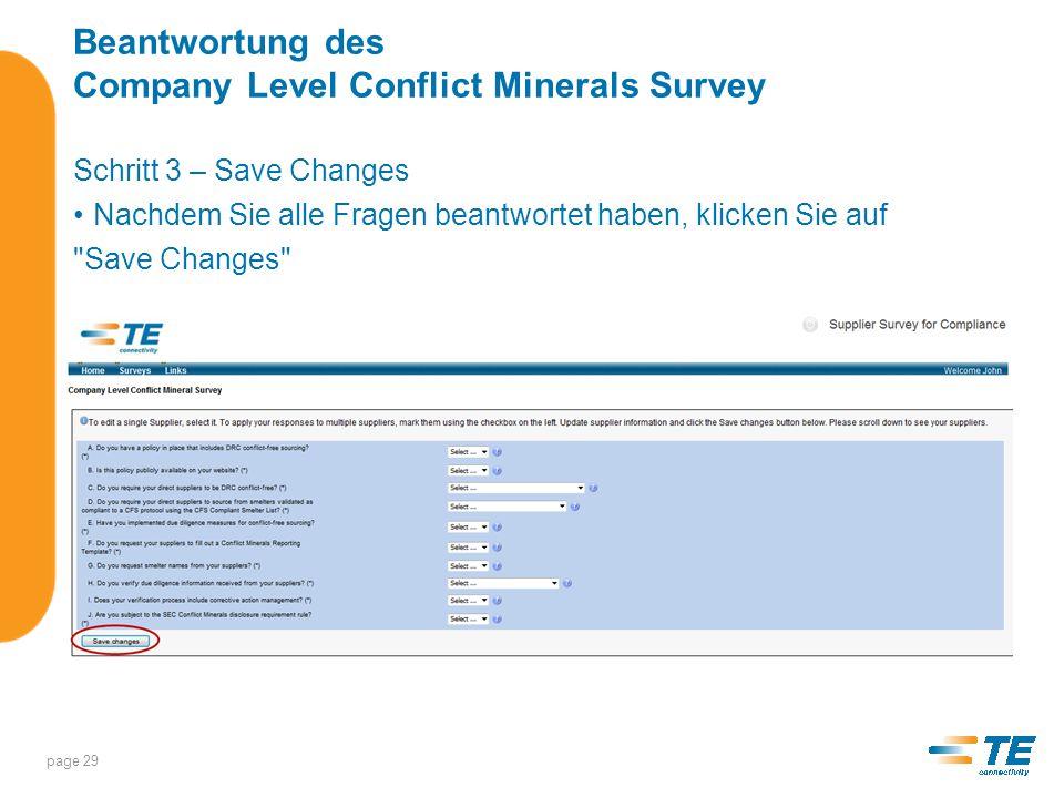 Beantwortung des Company Level Conflict Minerals Survey Schritt 4 – Sign & Submit (Signieren und abschicken) Klicken Sie auf page 30